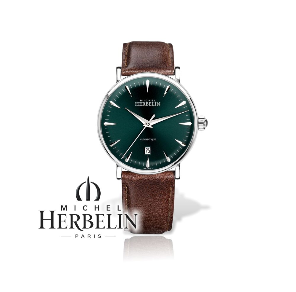 Michel Herbelin Herren Atomatk Uhr Inspiration 1647-AP16BR mit grünem Zifferblatt